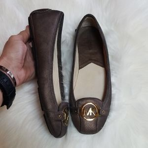 Michael Kors bronze leather loafers flats